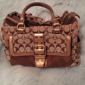 Used Coach VintageSignature C Gold Metallic Bag